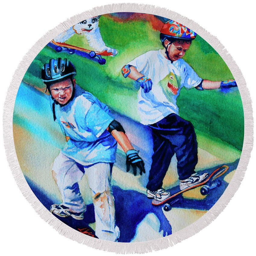 Skateboard Round Beach Towel featuring the painting Blasting Boarders by Hanne Lore Koehler