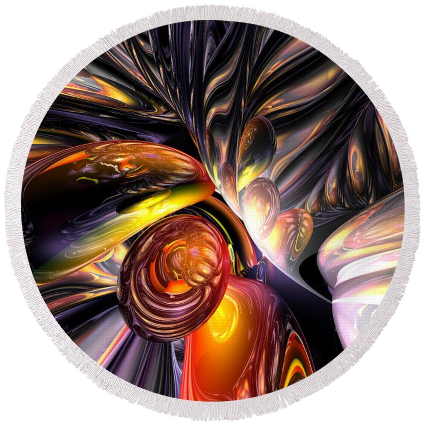 3d Round Beach Towel featuring the digital art Blaze Abstract by Alexander Butler