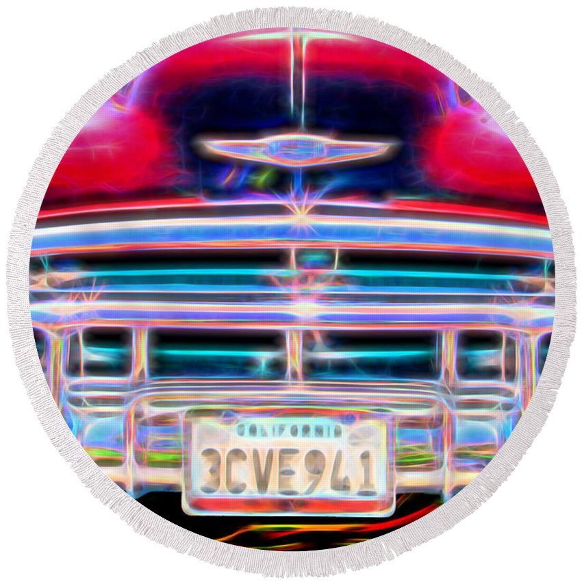 Car Round Beach Towel featuring the photograph Blazing Chevy by Kasia Bitner