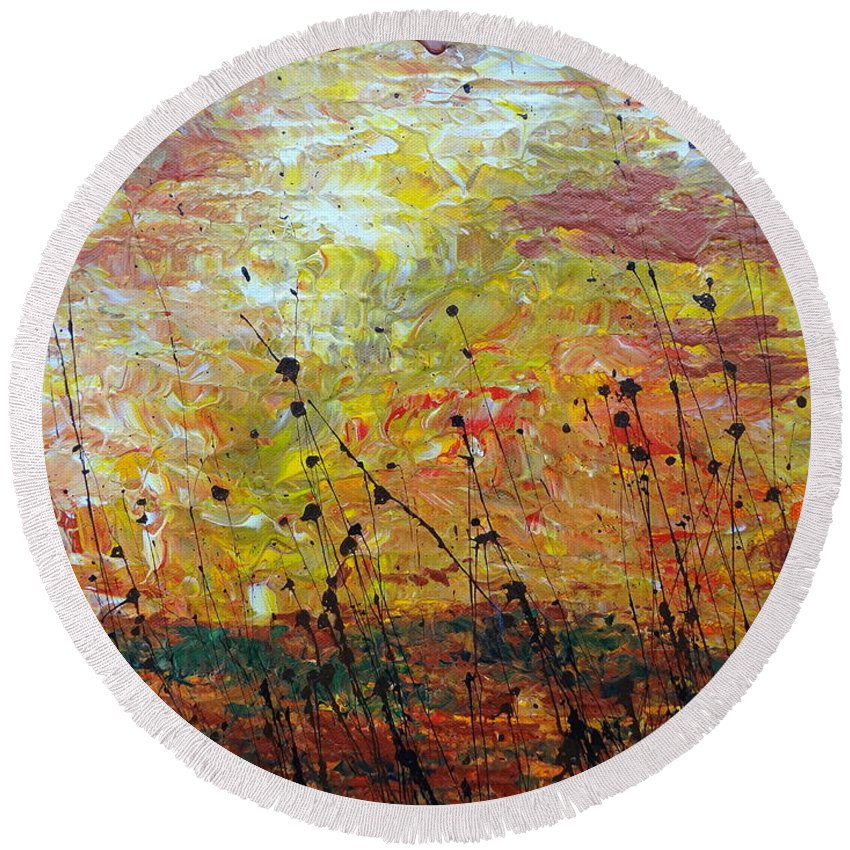 Blazing Prairie Round Beach Towel featuring the painting Blazing Prairie by Jacqueline Athmann
