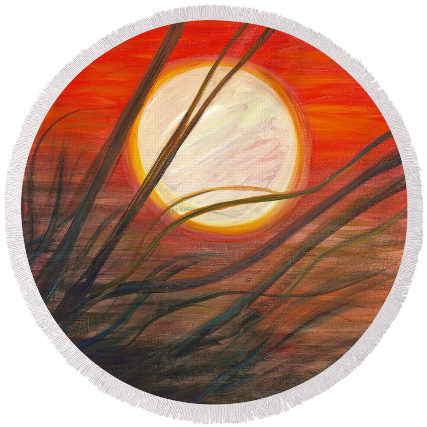 Sunrise Round Beach Towel featuring the painting Blazing Sun And Wind-blown Grasses by Nadine Rippelmeyer