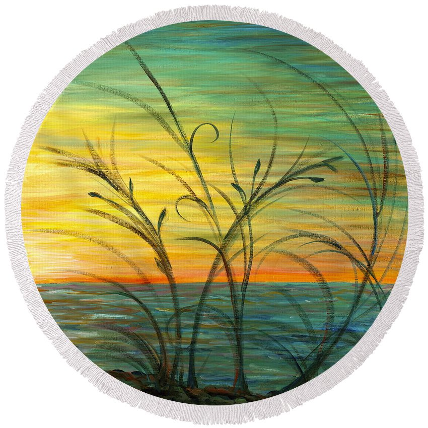 Blue Round Beach Towel featuring the painting Blazing Sunrise And Grasses In Blue by Nadine Rippelmeyer