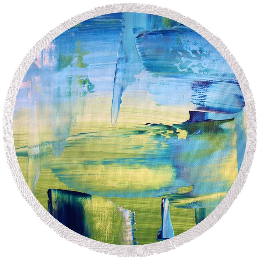 Abstract Round Beach Towel featuring the painting Bleen by Poppy Copley