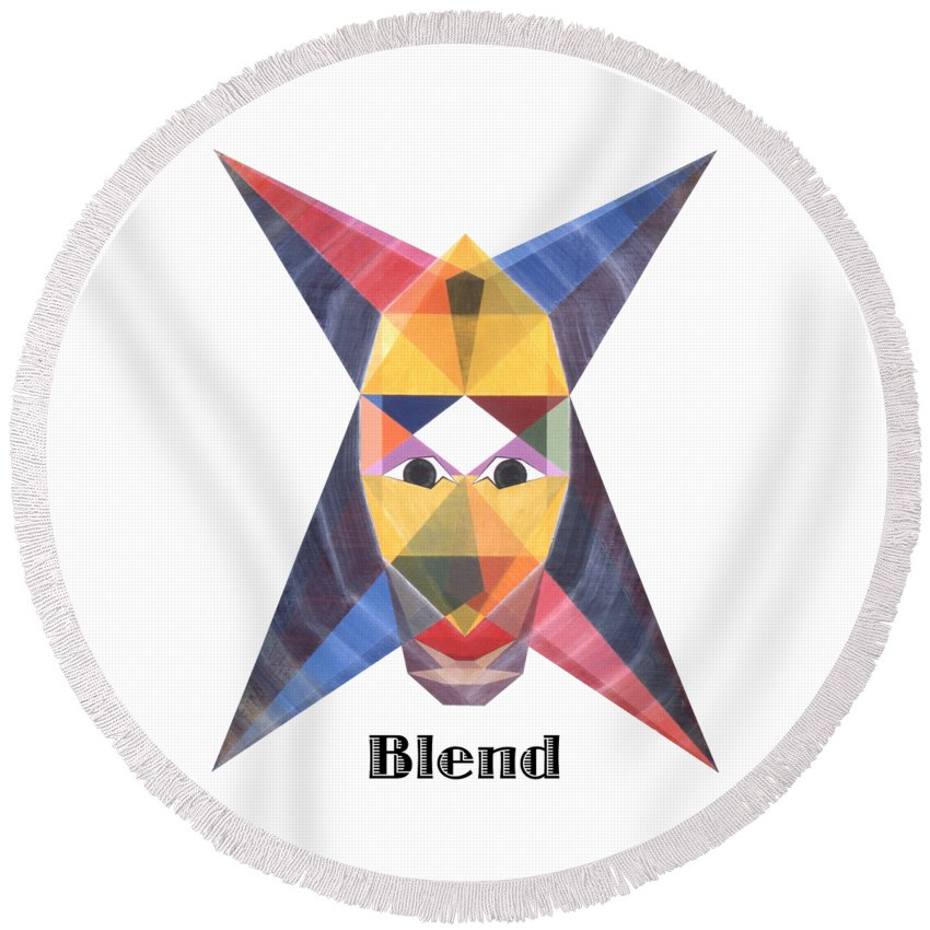 Painting Round Beach Towel featuring the painting Blend text by Michael Bellon