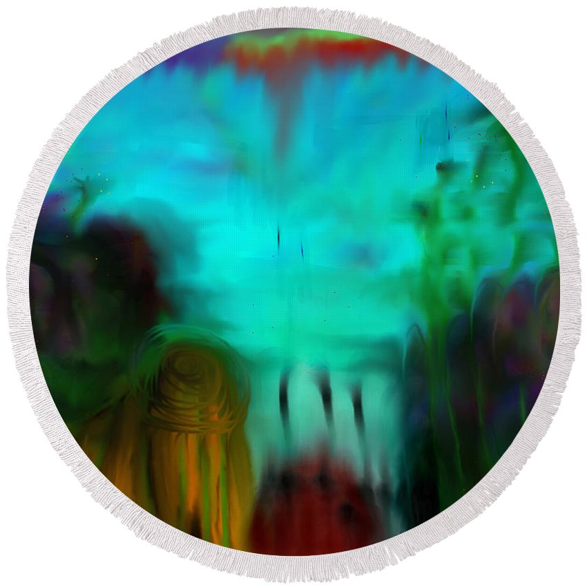 Abstract Landscape Round Beach Towel featuring the painting Lands Under The Sea - Abstract Landscape by Marie Jamieson