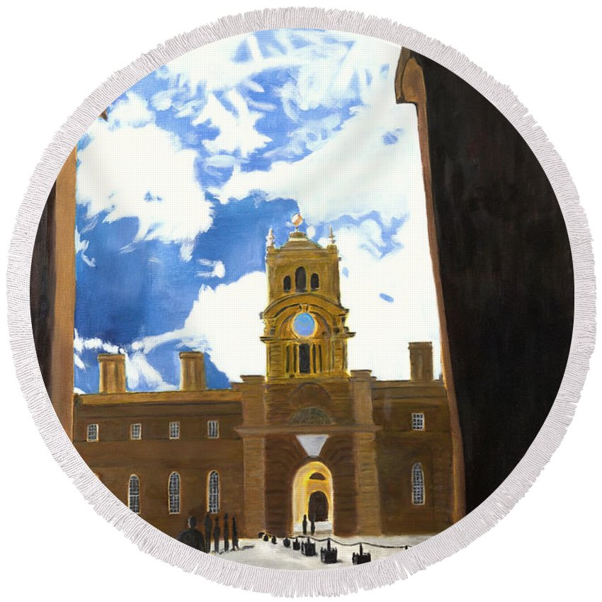 Churchill Round Beach Towel featuring the painting Blenheim Palace England by Avi Lehrer