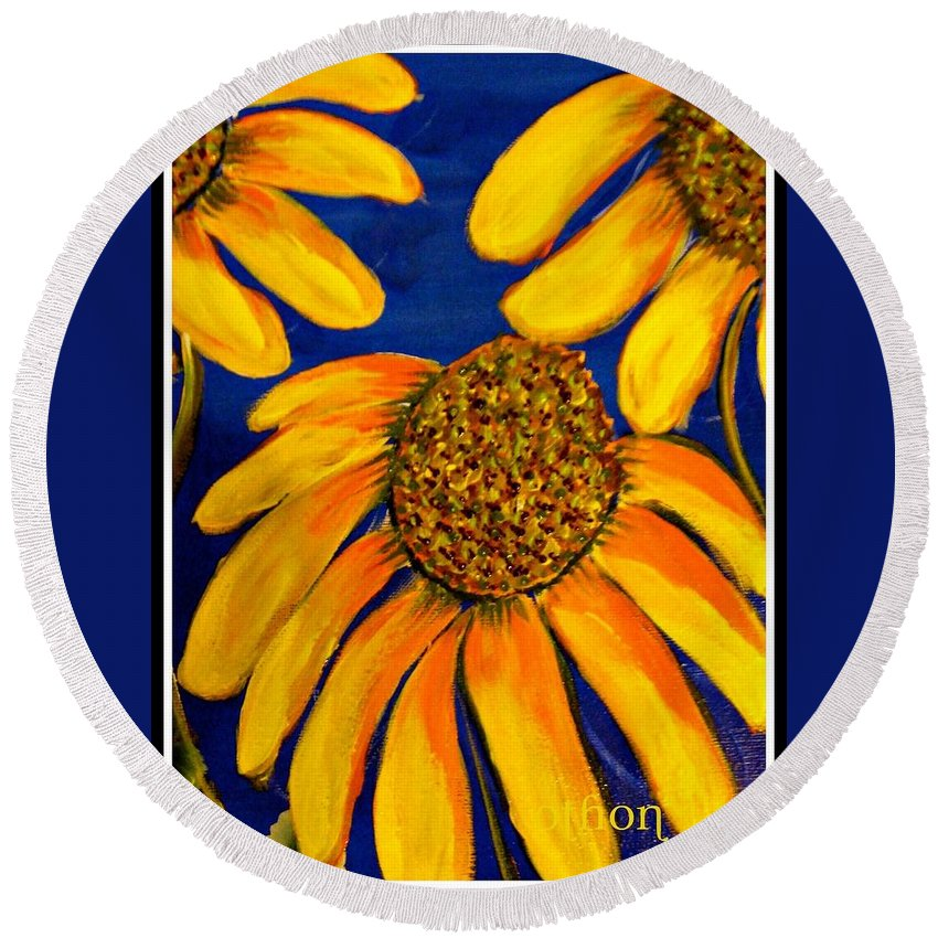 Floral Round Beach Towel featuring the painting Blessings by Kathy Othon