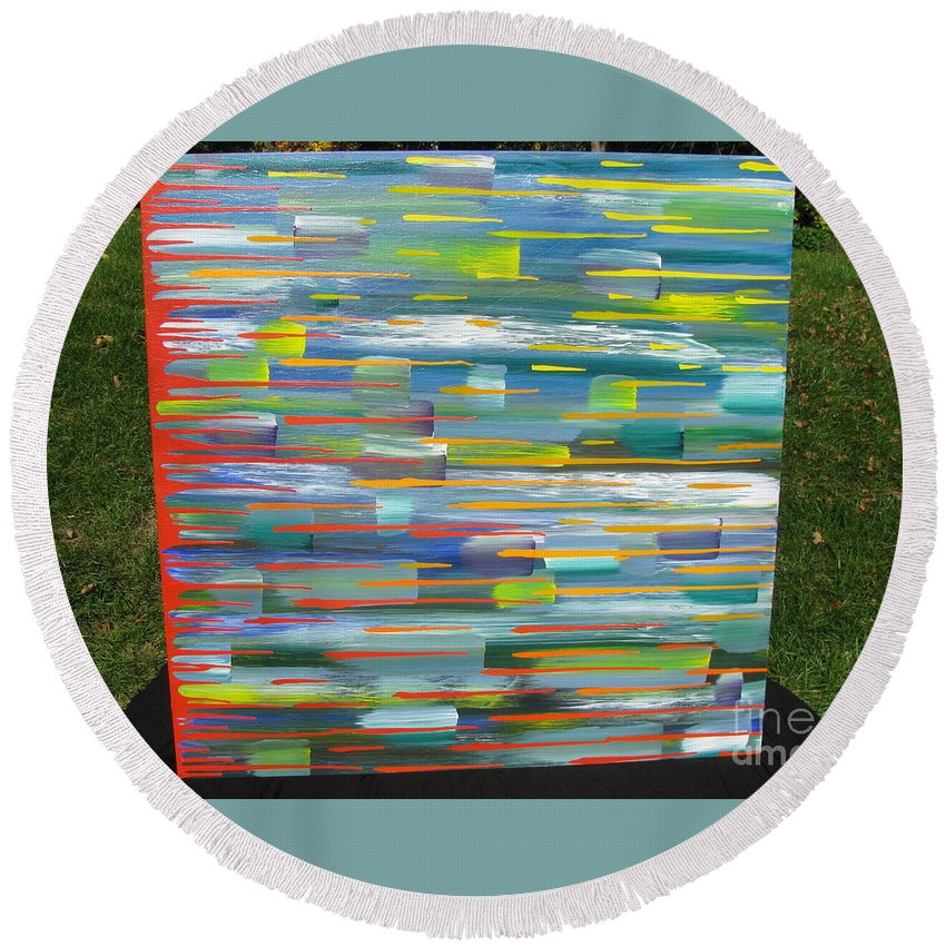 Movement Round Beach Towel featuring the painting Blindsided by Jacqueline Athmann