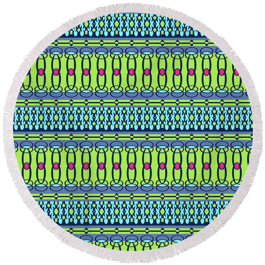 Pattern Round Beach Towel featuring the digital art Bling2 by Ceil Diskin