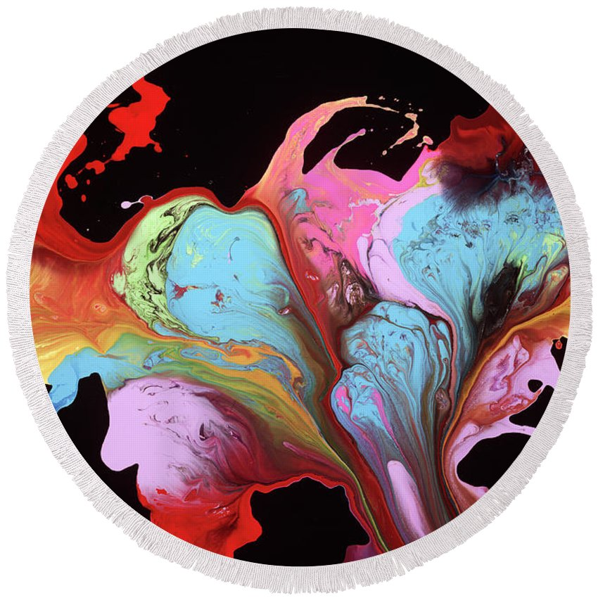 Round Beach Towel featuring the painting Bliss by Destiny Womack