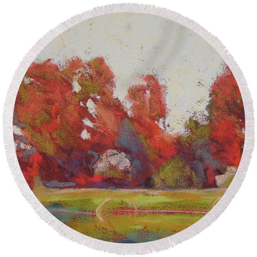 Landscape Round Beach Towel featuring the painting Bliss Evening by Mary McInnis