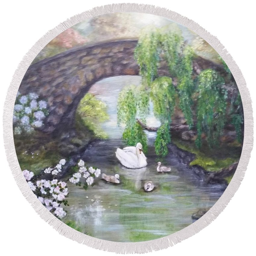 Impressionism Round Beach Towel featuring the painting Blissful Morning by Valerie Gordon