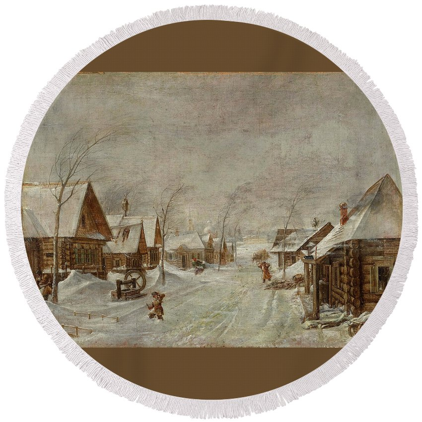 Leonid Ivanovich Solomatkin Round Beach Towel featuring the painting Blizzard by Leonid Ivanovich Solomatkin