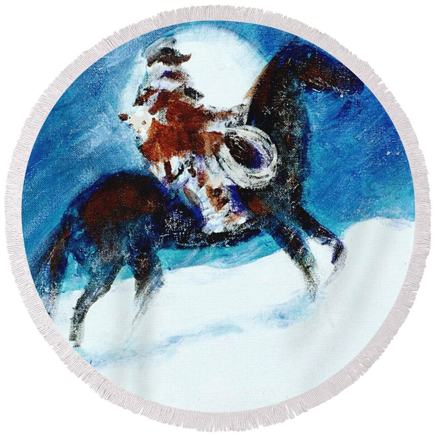 Blizzard Moon Round Beach Towel featuring the painting Blizzard Moon-the Last Stray by Seth Weaver