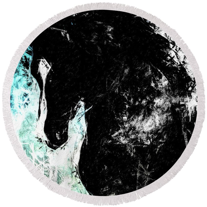 Horse Round Beach Towel featuring the digital art Blizzard South Of San Luis by Terry Fiala