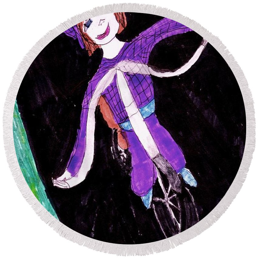 Dressed In A Purple Outfit Smiling Riding A Bike Round Beach Towel featuring the mixed media Biking Holiday by Elinor Helen Rakowski