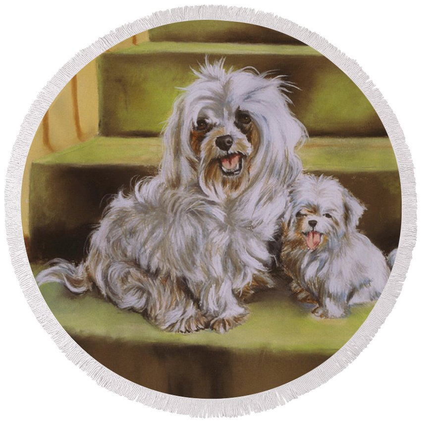 Maltese Round Beach Towel featuring the pastel Blonde And Beautiful by Barbara Keith