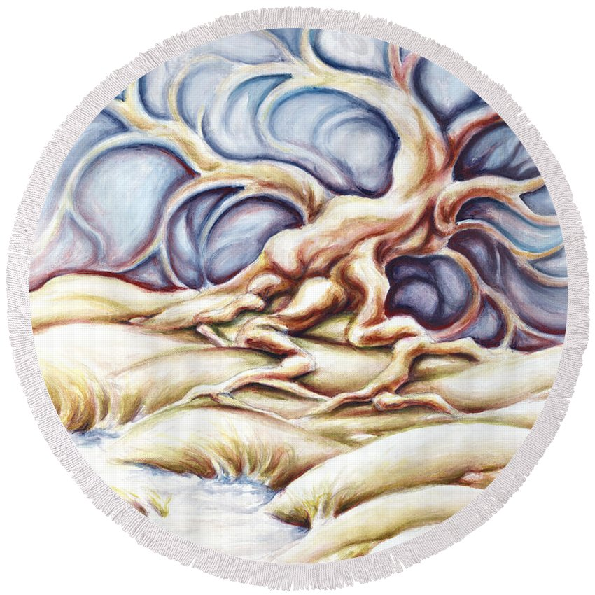 Acrylic Painting Round Beach Towel featuring the painting Blonde And Blue by Jennifer McDuffie