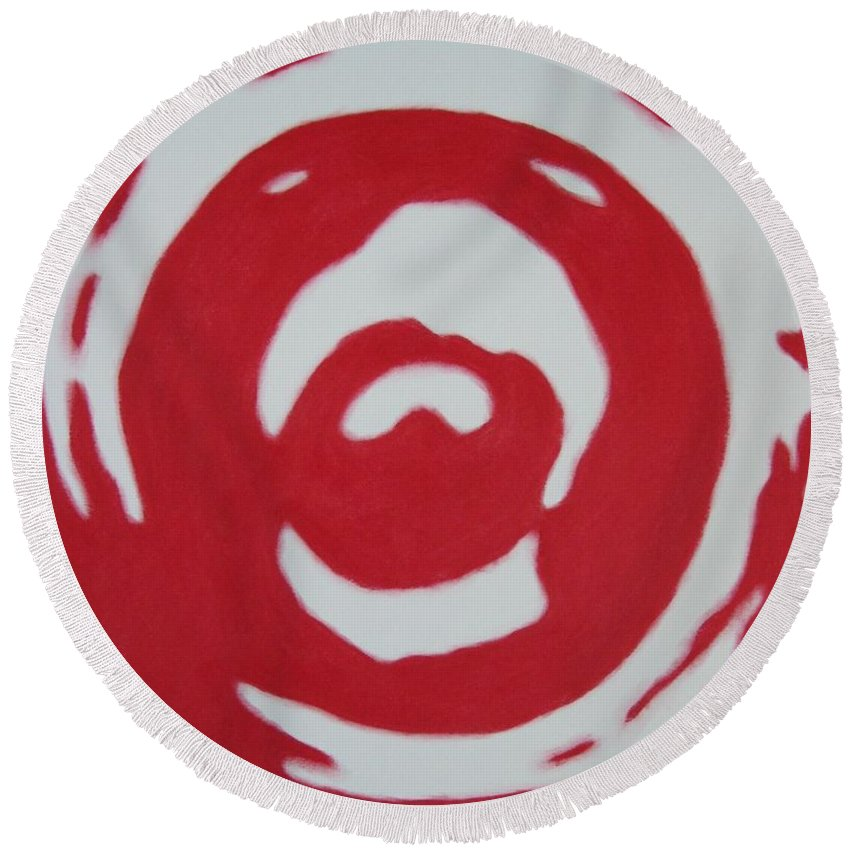 Abstract Round Beach Towel featuring the painting Blood And Tears by Lynet McDonald