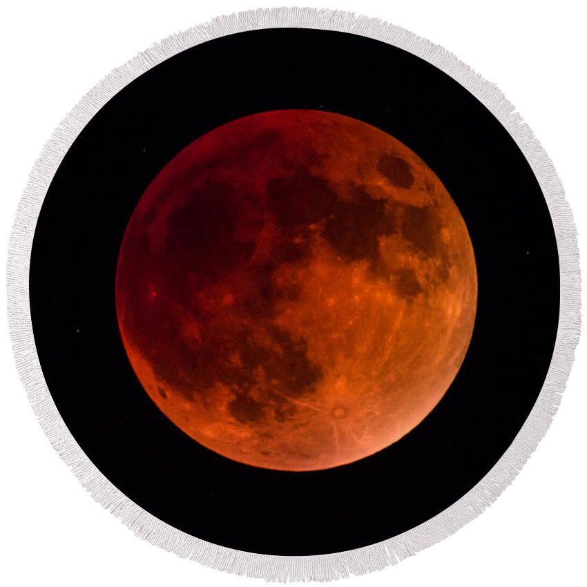 Moon Round Beach Towel featuring the photograph Blood Moon by AllScapes Photography