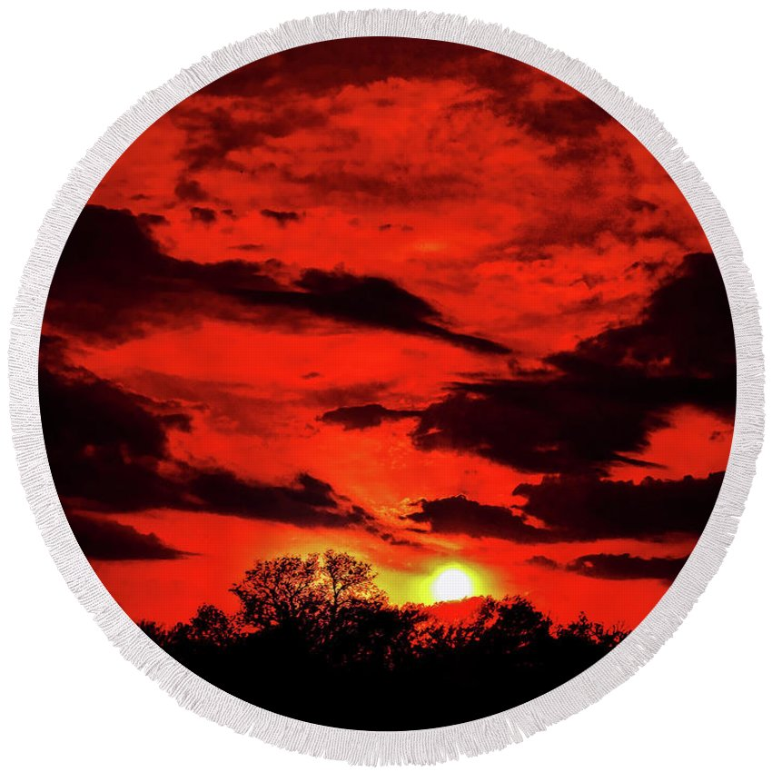 Dallas Round Beach Towel featuring the photograph Blood Sky by Douglas Barnard