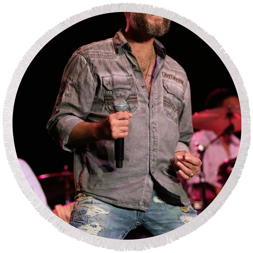 Blood Round Beach Towel featuring the photograph Blood Sweat And Tears Singer Bo Bice by Concert Photos
