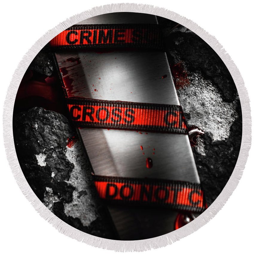 Clue Round Beach Towel featuring the photograph Bloody Knife Wrapped In Red Crime Scene Ribbon by Jorgo Photography - Wall Art Gallery