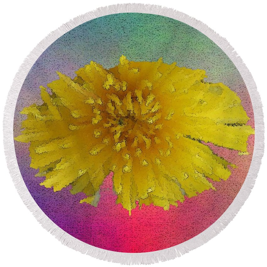 Bloom Round Beach Towel featuring the digital art Blooming 3 by Tim Allen