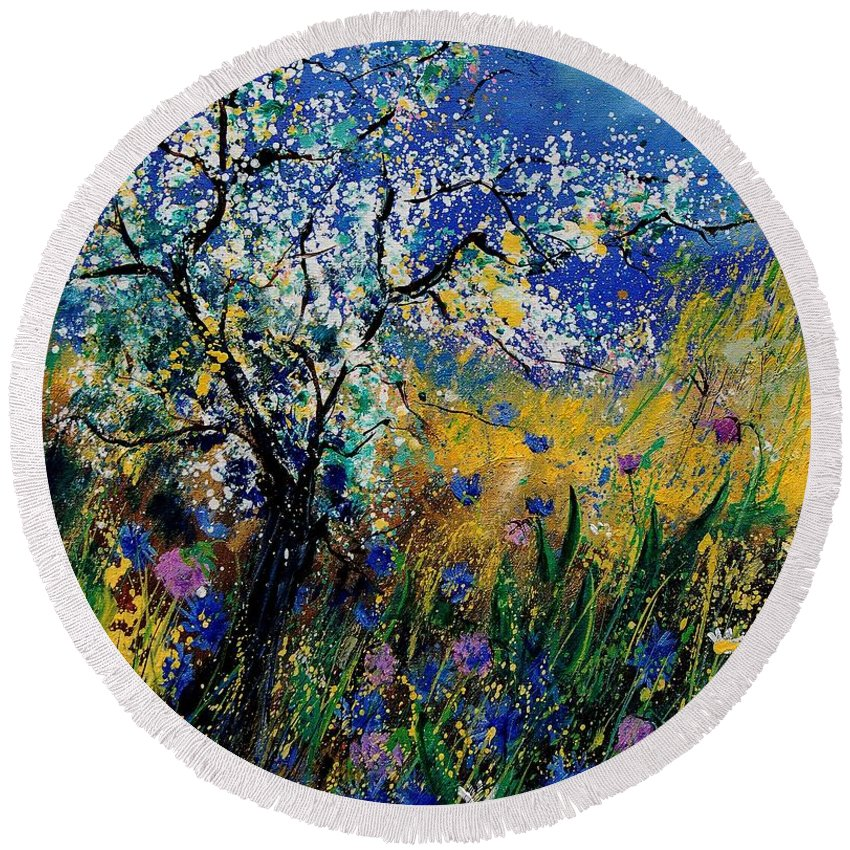 Spring Round Beach Towel featuring the painting Blooming Appletree by Pol Ledent