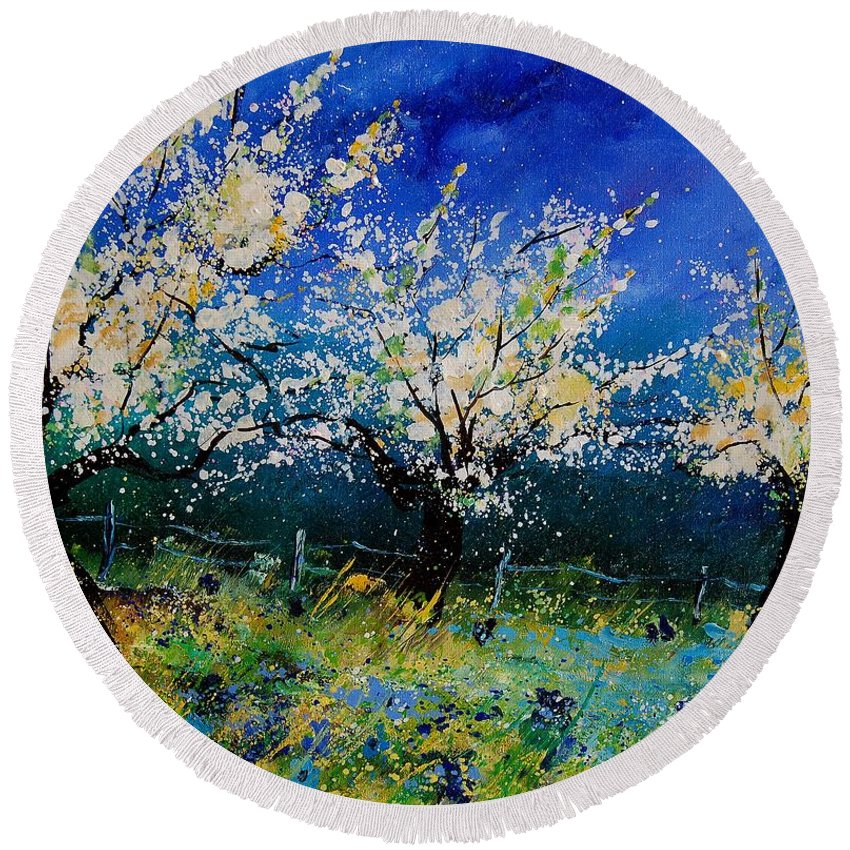 Landscape Round Beach Towel featuring the painting Blooming Appletrees 56 by Pol Ledent