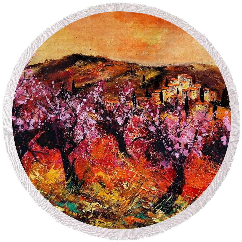 Provence Cherrytree Summer Spring Round Beach Towel featuring the painting Blooming Cherry Trees by Pol Ledent