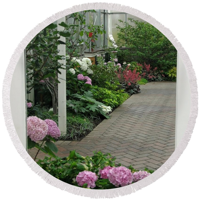 Conservatory Round Beach Towel featuring the photograph Blooming Conservatory by Ann Horn