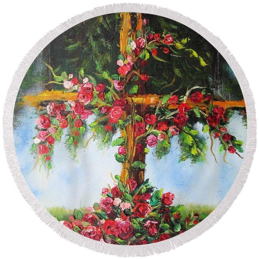Cross Round Beach Towel featuring the painting Blooming Cross by Vesna Martinjak