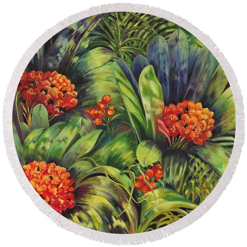 Flowers Round Beach Towel featuring the painting Blooming Gorgeous by Caroline Street