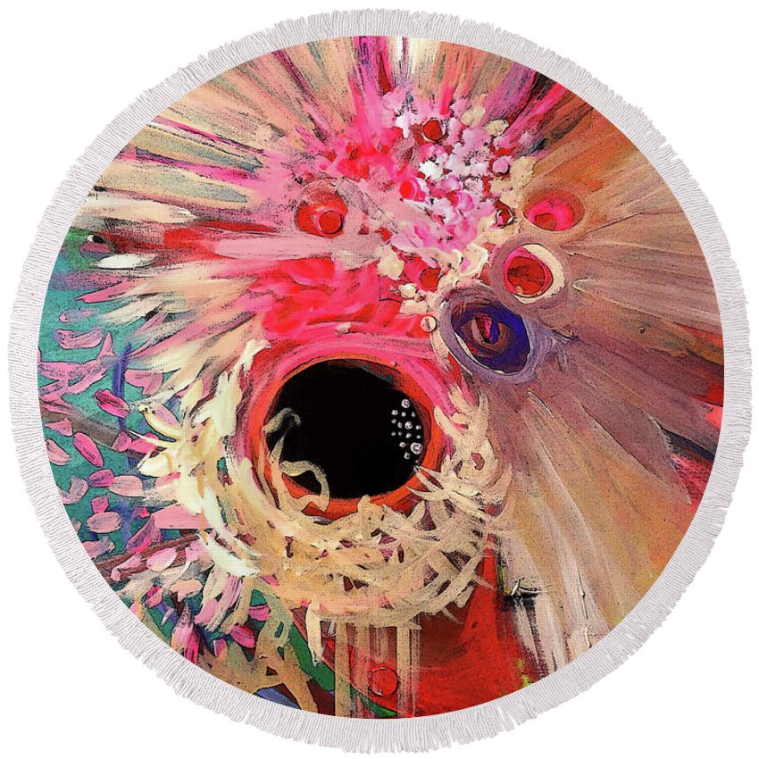 Round Beach Towel featuring the painting Blossom by Jordan Harcourt-Hughes
