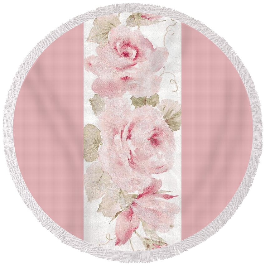 Writermore Round Beach Towel featuring the mixed media Blossom Series No.5 by Writermore Arts