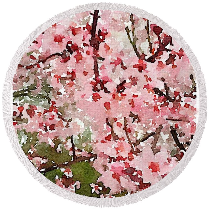 Waterlogue Round Beach Towel featuring the digital art Blossom Trail by Shannon Grissom