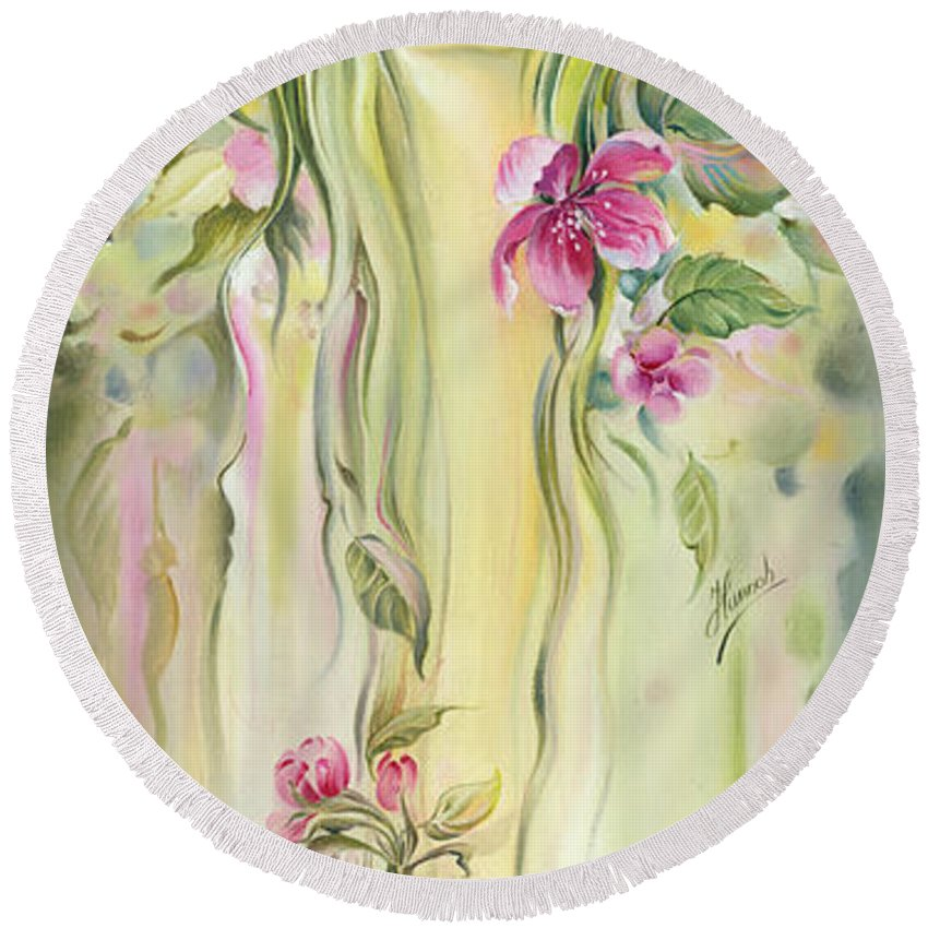 Spring Round Beach Towel featuring the painting Blossoming Spring - Crab Apple by Anna Ewa Miarczynska