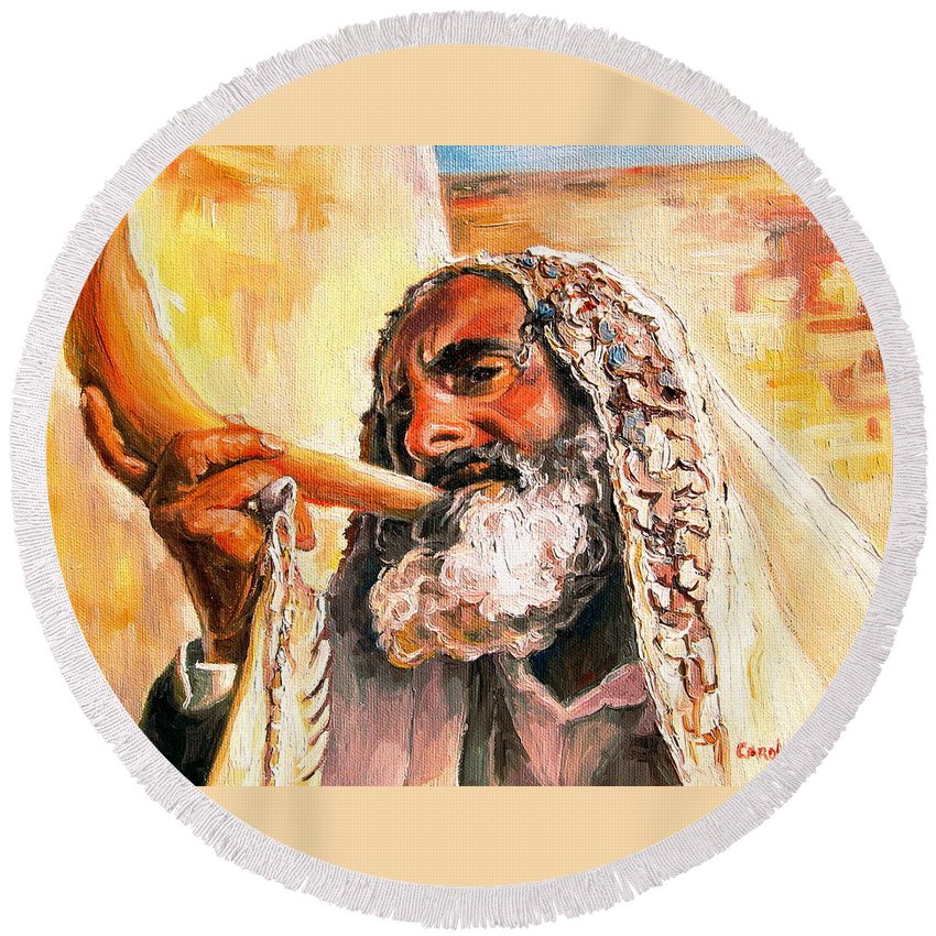 Rabbis Round Beach Towel featuring the painting Blow The Trumpet In Zion by Carole Spandau