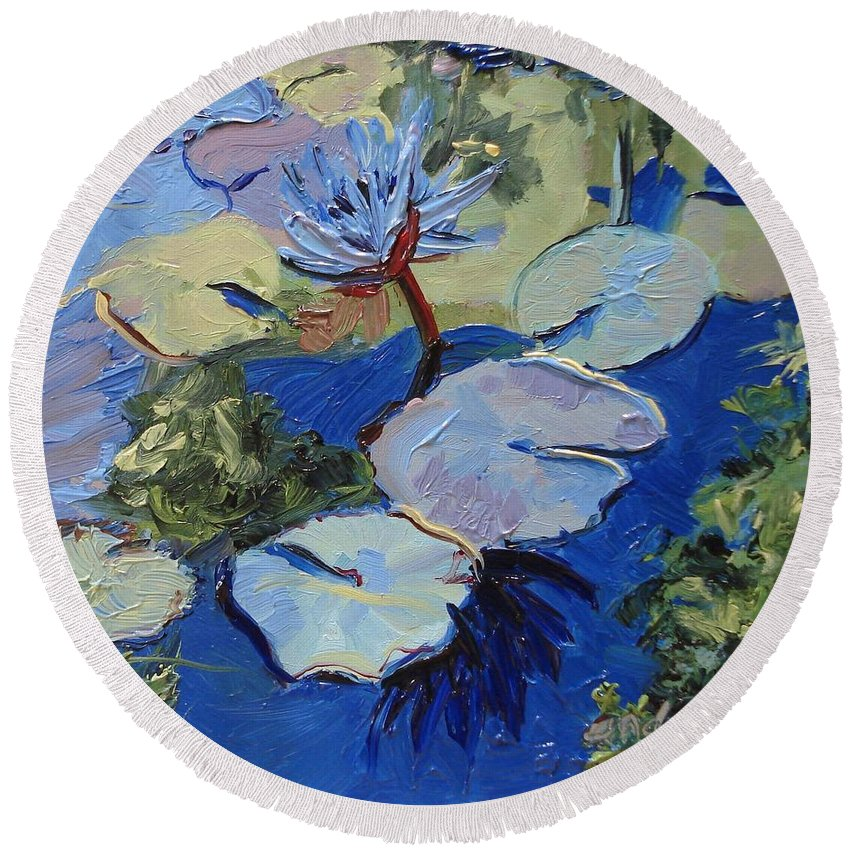 Lilies Round Beach Towel featuring the painting Blu I by Barbara Andolsek