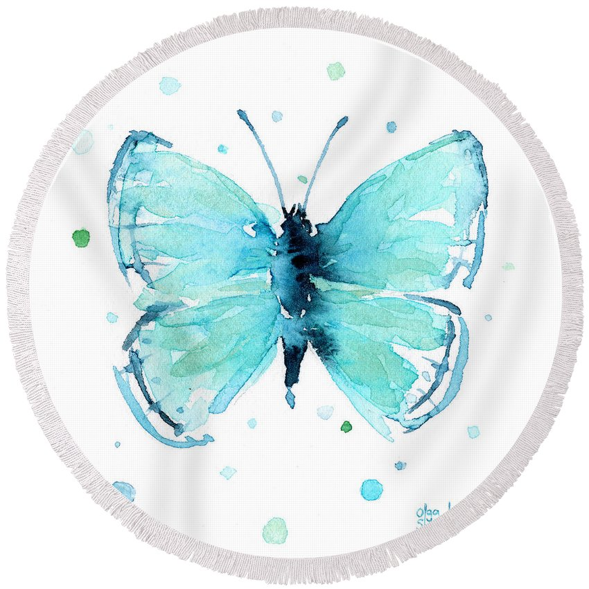 Watercolor Round Beach Towel featuring the painting Blue Abstract Butterfly by Olga Shvartsur