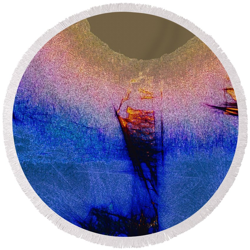 Pink And Blue Round Beach Towel featuring the digital art Blue Abyss by Anthony Robinson