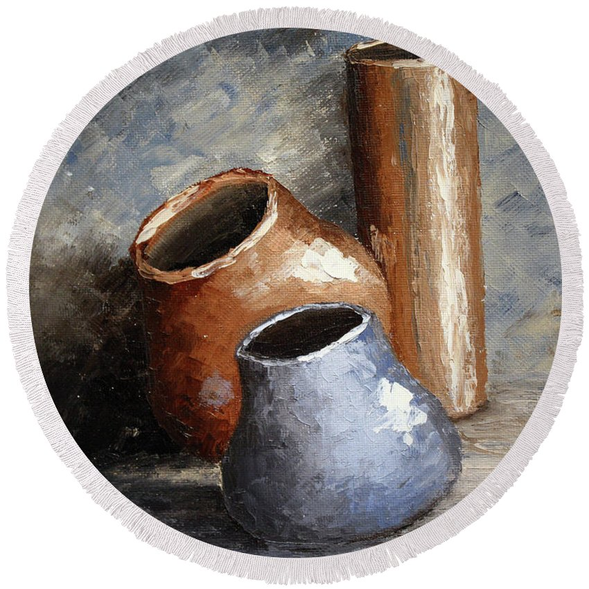 Roena King Round Beach Towel featuring the painting Blue And Brown Pots by Roena King