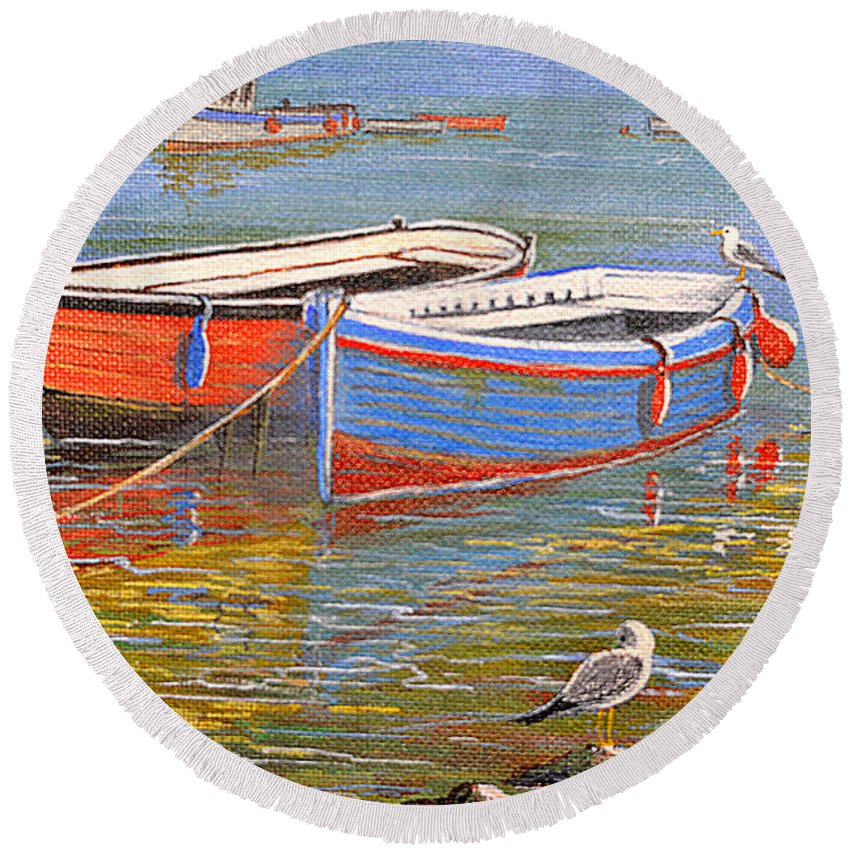 Blue Round Beach Towel featuring the painting Blue And Orange by Bill Holkham