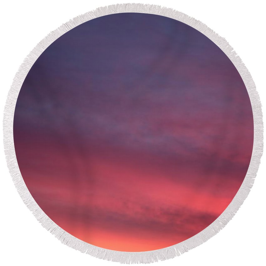 Sunset Round Beach Towel featuring the photograph Blue And Orange Sunset by Nadine Rippelmeyer