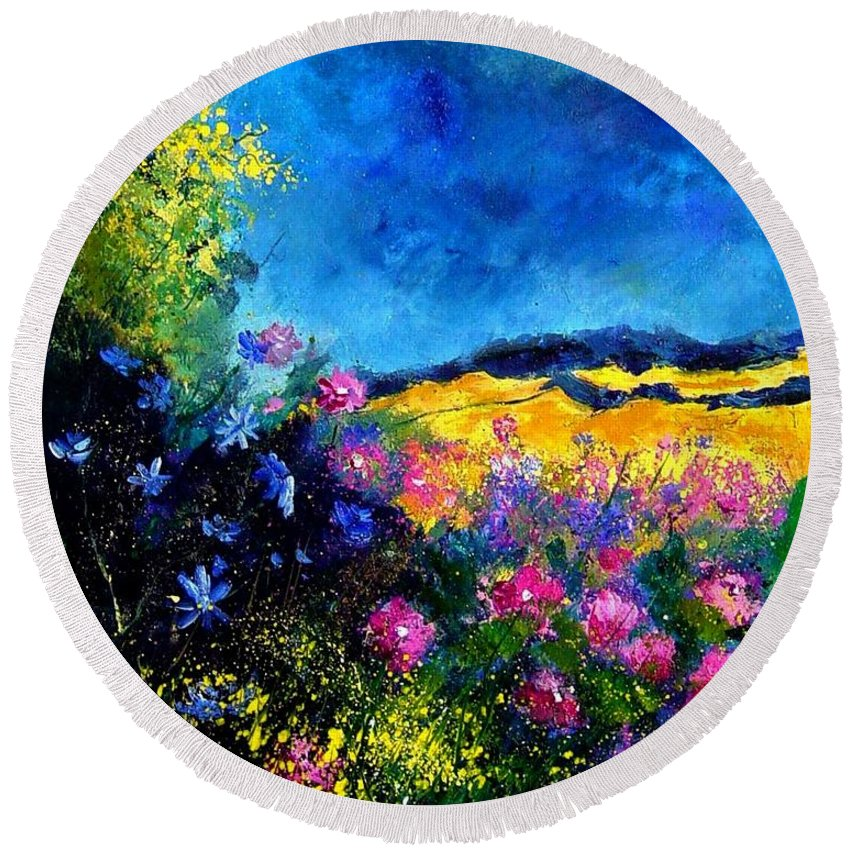Landscape Round Beach Towel featuring the painting Blue And Pink Flowers by Pol Ledent