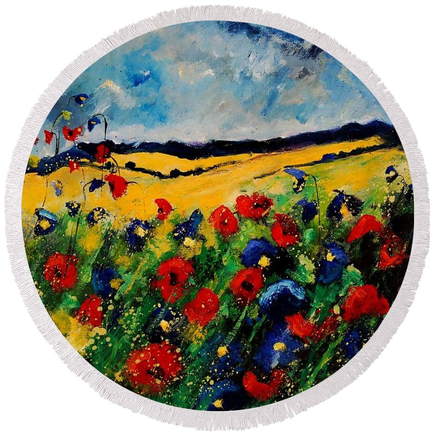 Poppies Round Beach Towel featuring the painting Blue And Red Poppies 45 by Pol Ledent