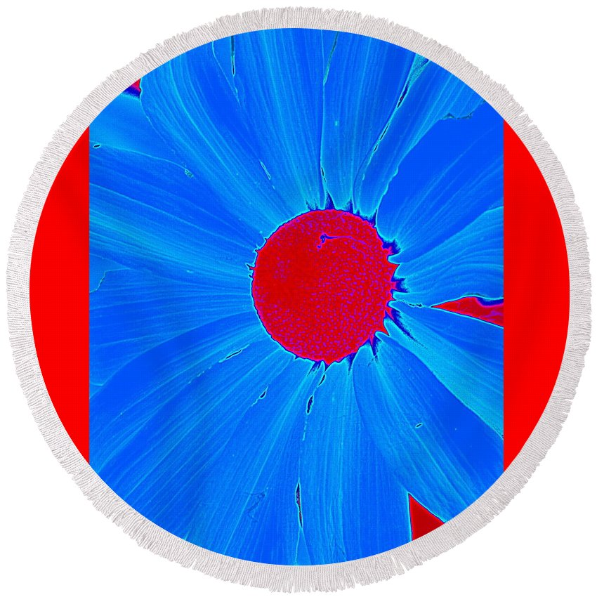 Red Round Beach Towel featuring the photograph Blue Sun Flower by M Pace