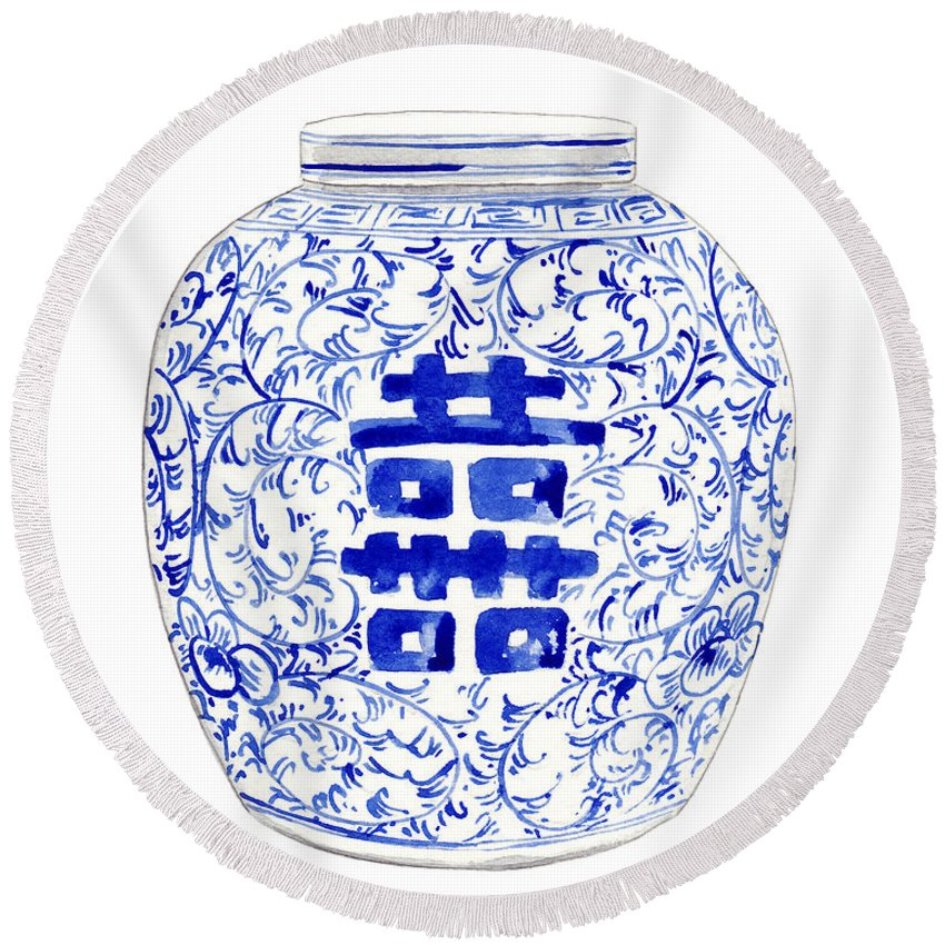 Blue And White China Round Beach Towel featuring the painting Blue And White Ginger Jar Chinoiserie 8 by Laura Row