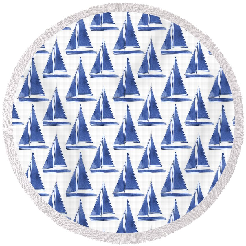 Boats Round Beach Towel featuring the digital art Blue And White Sailboats Pattern- Art By Linda Woods by Linda Woods